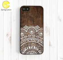 Classic Imitation Wood Lace Ethnic Patterns Protective Cell Phone Hard Case Cover For iPhone 4 4S 5 5S 6 6PLUS 7 7PLUS 8 8PLUS X(China)
