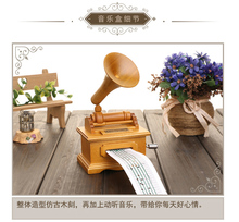 Diy Paper Composting Tape Wooden Hand Cranked Phonograph Music Box For Girlfriends Birthday Gift Ideas Personalized Collectables