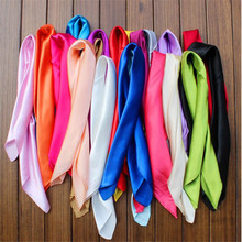 23color/Women Fashion Autumn Summer Solid Color Large Square Silk Scarves Soft Muslim HIjab Headband Cheap Shawl 60*60cm