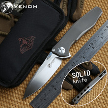 VENOM 4 Wing Kevin John M390 SOLID Titanium Flipper folding knife ceramic ball bearing camping hunting pocket knife EDC tools