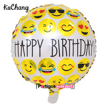 50pcs/lot 18inch Expression balloons printed happy birthday foil balloons baby shower globos multiple Emoji balao smile balloon