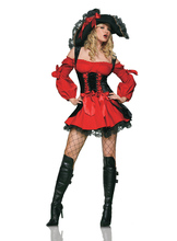 Plus Szie XL Red Pirate Costume Adult Women Halloween Party Sexy Matador Pirate Captain Cosplay Costume With Hat