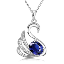 New Noble Elegant Swan Women Charm Jewelry Fashion necklace White Gold plated blue Austrian Crystal CZ Diamond Necklace Pendant