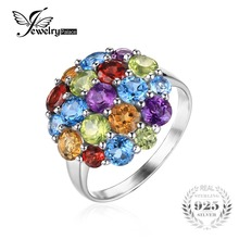 JewelryPalace luxury 4.4ct Multicolor Natural Amethyst Citrine Garnet Peridot Sky Blue Topaz Cocktail Ring 925 Sterling Silver