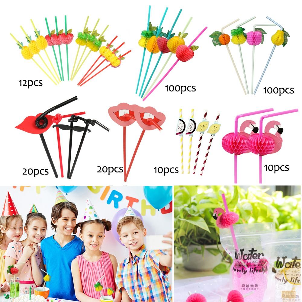 10//20//50//100Pcs 3D Flamingo Cocktail Drinking Straw Wedding Beach Party Supply