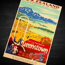 Close Vintage Queenstown New Zealand View Art Retro Vintage Decorative Frame Poster DIY Wall Home Posters Home Decor Gift