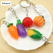 Mini Simulation fruits and vegetables keychains Cute Resin food key ring Cell Phone Charm  Bag Strap Decor Promotional Gifts
