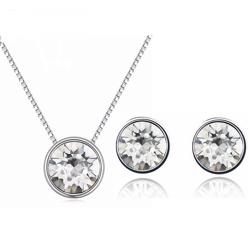 100% Original Crystals From Swarovski Round Pendant Necklace Stud Earrings Set For Women 2017 Jewelry Set Mother'S Gift(China)