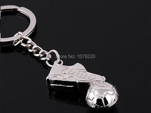 HJ Shoe & Football Alloy Keyring Keyfob Polished Chrome Classic 3D Pendant KeyChain Creative Gift Free shipping(China)