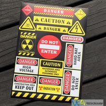 A4 DANGER CAUTION Warning Sign Car Styling Waterproof Graffiti Doodle Sticker Hellaflush Bicycle Laptop Skateboard Luggage Decal