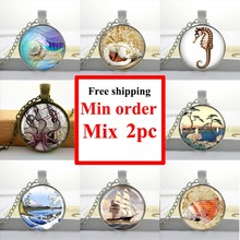 Wholesale girls glass cabochon necklace glass sea shell necklace Sea Shell pendant round glass necklace