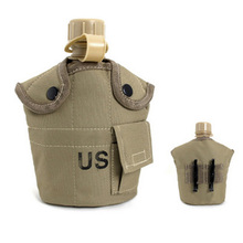 1L Outdoor water bottle military water canteen kettle Aluminum Water Bottle with Nylon Cover Hiking Camping Kettle(China)