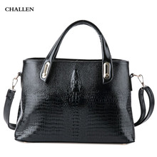 Crocodile Design Solid Pattern Zipper Tote for Ladies Luxury Handbags Women Bags Designer PU Leather Bags for Women