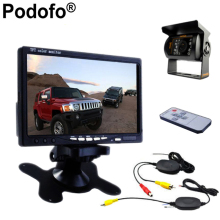 "Podofo 12V - 24V Car Rear View Wireless Backup Camera Kit + 7"" TFT LCD Monitor For Truck / Van / Caravan / Trailers / Campers(China)"
