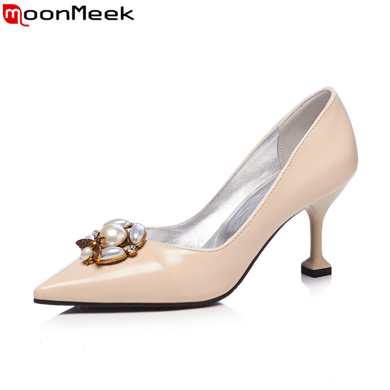 MoonMeek 2018 spring autumn sexy ladies pumps extreme high heels with rhinestone shallow on woman shoes<br>