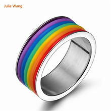 Julie Wang Bright Silver Stainless Steel Personality Rainbow Rings Gift Celebration Party Rings Men Lovers Jewelry
