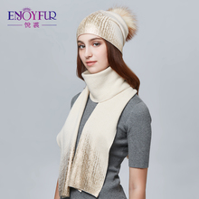 ENJOYFUR Women Winter Hat And Scarf Set Fashion Cashmere High Quality Fur Pompom Hat Female Warm Cashmere Knitted Hat Scarves(China)