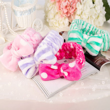 Women Coral Fleece Mask Cosmetic Towel Hair Bands Big Bow Covering Microfiber Hair Bands Headband Wholesale Headwear