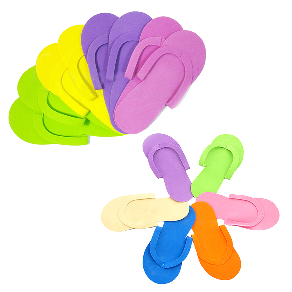 Random Color Disposable Foam Slippers High Quality Spa Pedicure Flip Flop Assorted Colors For Salon 12Pairs