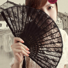 1Pc Black Lace Bamboo Handheld Fan Lace Dance Party Wedding Favors Hand Held Folding Fan(China)