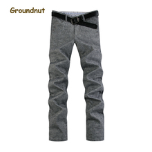 Groundnut Brand Plus Size 35 - 46 New Autumn Winter Thick Warm Straight Leg Linen Pants Men Casual Trousers Brand Clothing