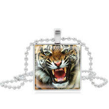 XUSHUI Roaring Tiger Pendant Necklace Vintage Jewelry Square Glass Cabochon Silver Beads Chain Necklace Women