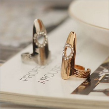 New Hot ! Fashion Fine Jewelry Gold Color Personality Rhinestone Pierced Love Wedding Fingernail Rings For Women Gifts R-52