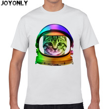 Joy Only Men's White Color 100% Cotton T Shirt Space Galaxy Animal Astronauts Cat Print 3D T-Shirt Men Casual Clothing Tops TA43