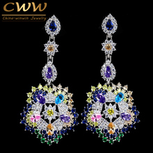CWWZircons Luxury Multi Colors Cubic Zirconia Long Big Drop Earrings High Quality Women CZ Party Costume Jewelry CZ353(China)