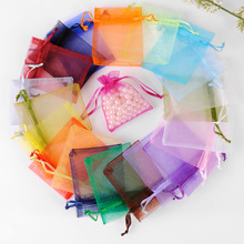 50 Pcs/Set Organza Drawstring Bags Wedding Pouches Jewelry Packaging Bags Gift Bag Home Storage Pocket,Mix Colors.Free Shipping