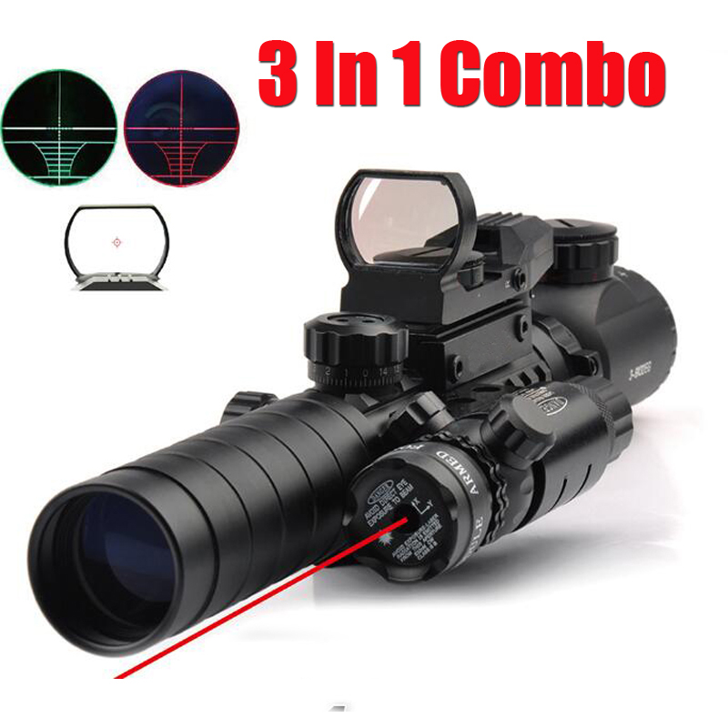 Tactical 3-9X32EG Riflescope w/ Long Range Red Dot Laser/ Red/Green Dot Holographic Reflex Sight 3 in 1 Combo for Rifle /Airsoft<br><br>Aliexpress