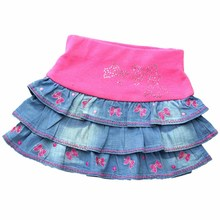 2-8Y Children Blue Denim Skirts Bows Floral Embroidery Rhinestones Jean clothe Girls Pink Party Mini fluffy MH2241(China)