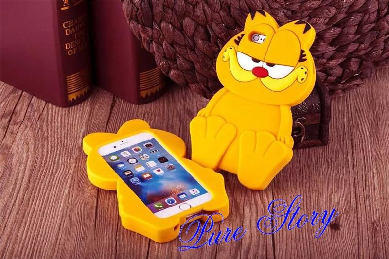 Fashion 3D Cute Silicone Rubber Cartoon Garfield Cat Phone Case