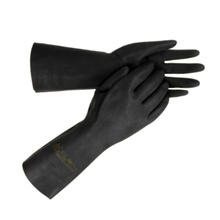 Yuntab new arrival of the black rubber protective gloves laboratory corrosion-resistant gloves wear-resistant work gloves
