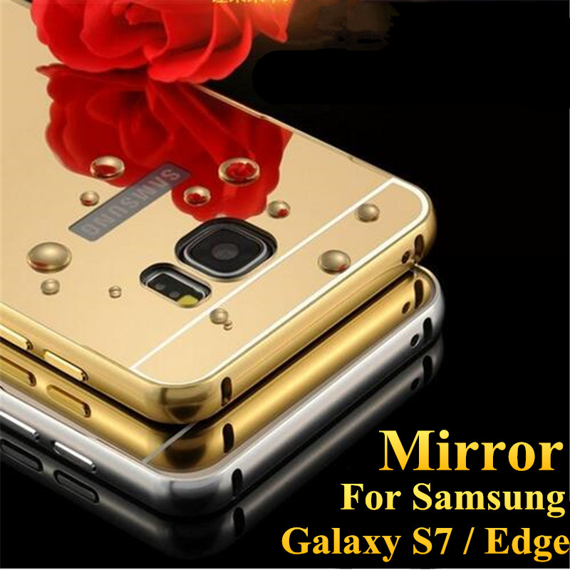 For Samsung Galaxy S7 G9300 S7 Edge G9350 Metal Aluminum Bumper + Acrylic Hard Mirror Back Hybrid Cell Phone Cover Cases