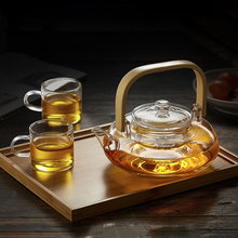 All Ready Elegant Glass Tea Set Heat-resistant Tea Pot bamboo handle With Cups Tray Kettle Warmer Home Tea Giftset Table Ware(China)