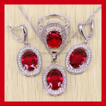 925 Sterling Silver Oval Women Wedding Red Garnet Jewelry Set Crystal Ring/earrings/Necklace/Pendants Free Shipping
