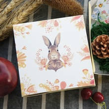 13.5*13.5*5cm 10pcs rabbit and grain design Paper Box Cheese candy Cookie valentine gift Packaging Wedding Christmas Use