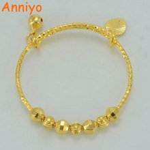 Anniyo Small Bangle for Girls/Baby Gold Color Charm Beads Bracelet Small Bell/Heart Jewelry Child Party Gifts #047802