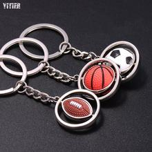 500pcs/lot Brand High Grade Metal Basketball Football Golf Key Souvenir Rotary Ball Cheap Ring Can Choose Creative Men Keychain(China)