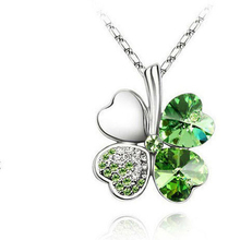 Green Clover Long Necklace For Women Alloy Silver Chain Heart Rhinestones Necklaces & Pendants Jewelry Gift For Girl  360573