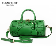 SUNNY SHOP 2017 Summer New High Quality Cattle Splity Leather Bags Cow Leather Women Shoulder bags Fashion Leather Mesenger Bag