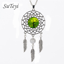 SUTEYI Vintage Life tree glass necklace Dreamcatcher Pendant Necklace Tree wiggling Jewelry Accessories Dream Catcher Necklaces