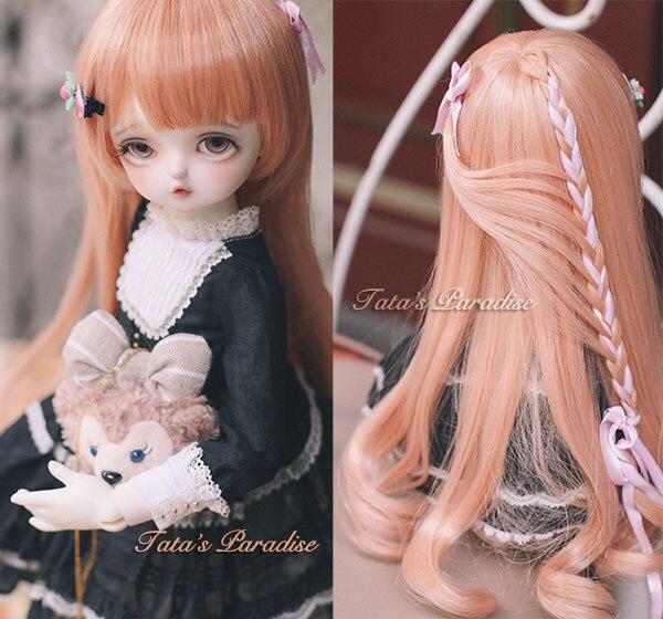 NEW 1/3 22-24cm BJD wig pink long wave hair high temperature wire for BJD SD DD MDDdollfie<br>