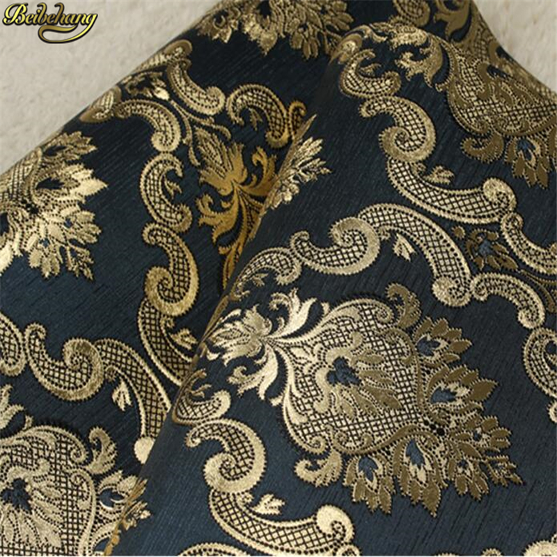 beibehang Black gold flower gold foil Damascus European style wallpaper bedroom living room KTV bar clubhouse wallpaper<br>