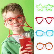 Hot! Funny Soft Glasses Straw Unique Flexible Drinking Tube Kids Party Accessories Colorful Pink Blue Plastic Drinking Straws