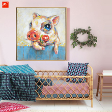 2016 Baby Pig Piggy With Rose Cartoon Animal Wall Art Oil Painting Canvas Prints Child Gift Children's Room  Decoration