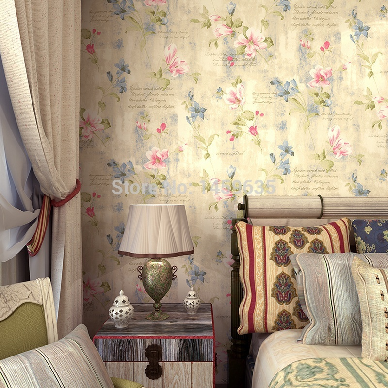 Mediterranean-style garden bedroom wallpaper warm American country of England small floral wallpaper<br>