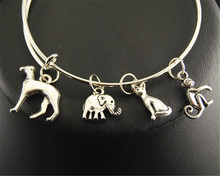 1pc Dog Elephant Cat Monkey Animal World Charm Wire Adjustable Expandable Bangle Bracelet Jewelry E149