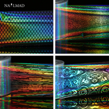 1 roll 4*100cm Holographic Nail Foils Laser Fish Scale Nail Art Transfer Foil Starry Sky Transfer Sticker Paper(China)